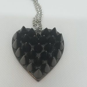 Gun metal cone spike heart necklace small new